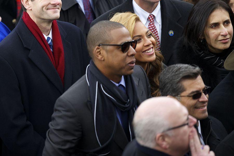 Jay-Z et Beyoncé lors de la seconde investiture de Barack Obama à Washington le 21 janvier 2013