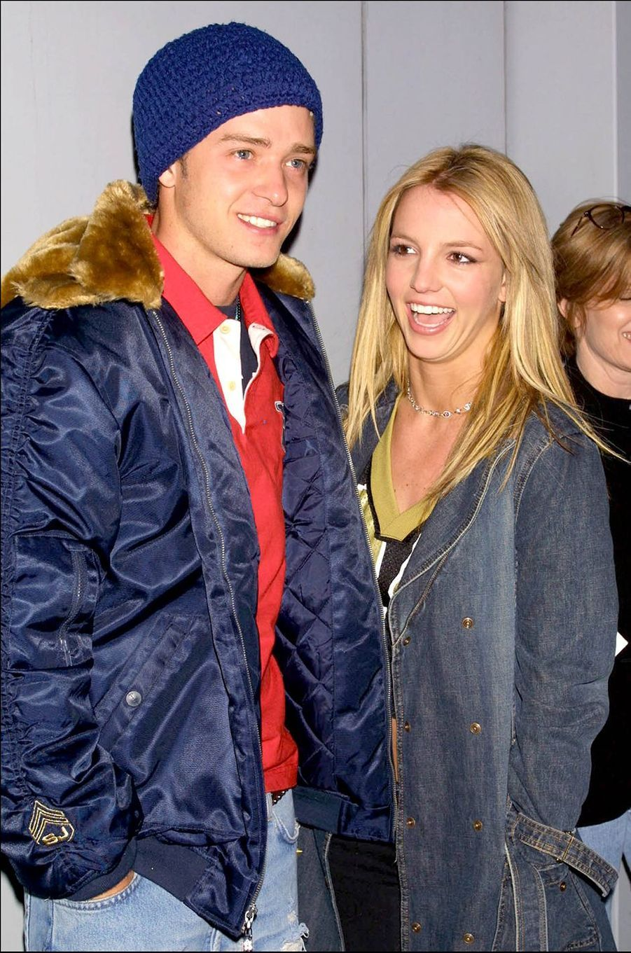 Britney Spears et Justin Timberlake lors d'une collecte de fonds organisée en marge du Superbowl à New York en février 2002