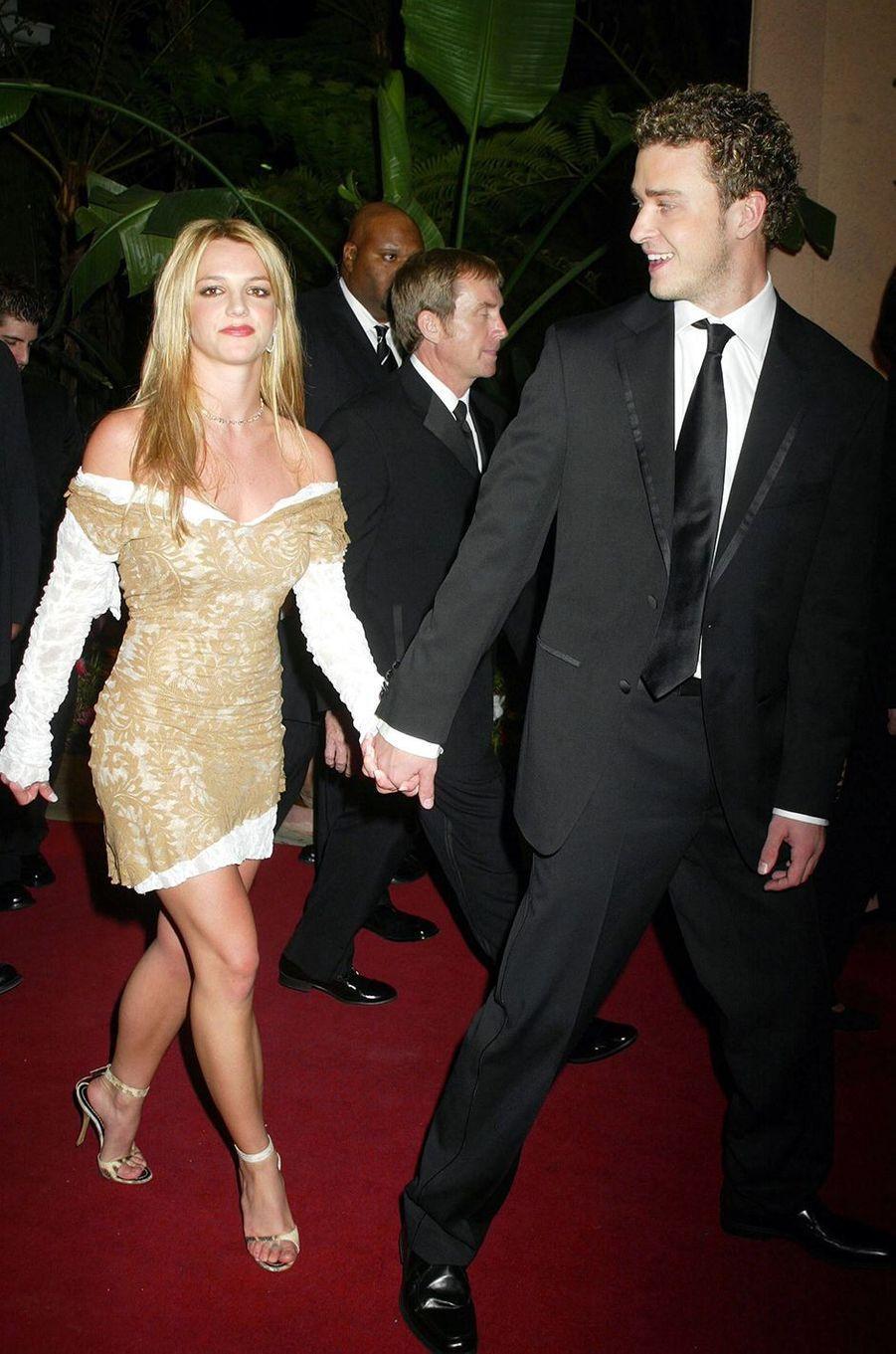 Britney Spears et Justin Timberlake à Beverly Hills pour la soirée pré-Grammy en février 2002
