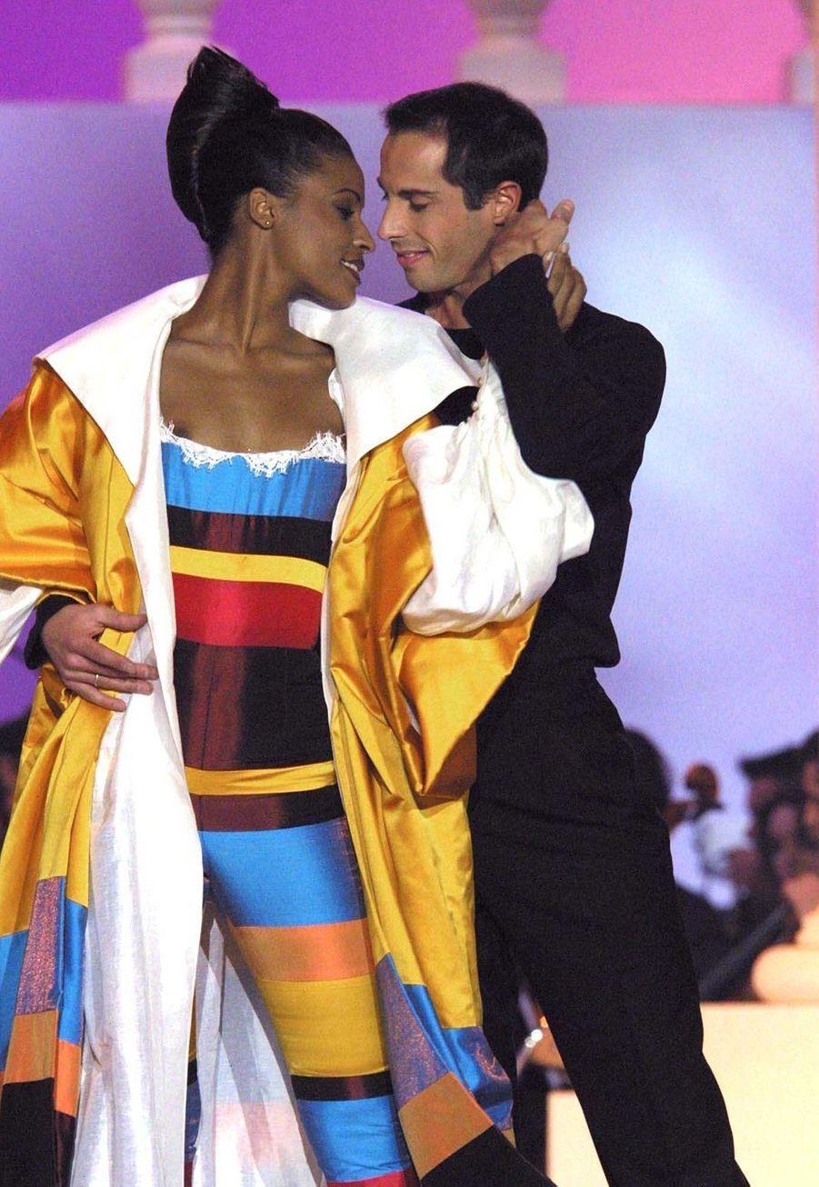 Corinne Coman lors du concours Miss Franceà Lyon le 14 décembre 2002