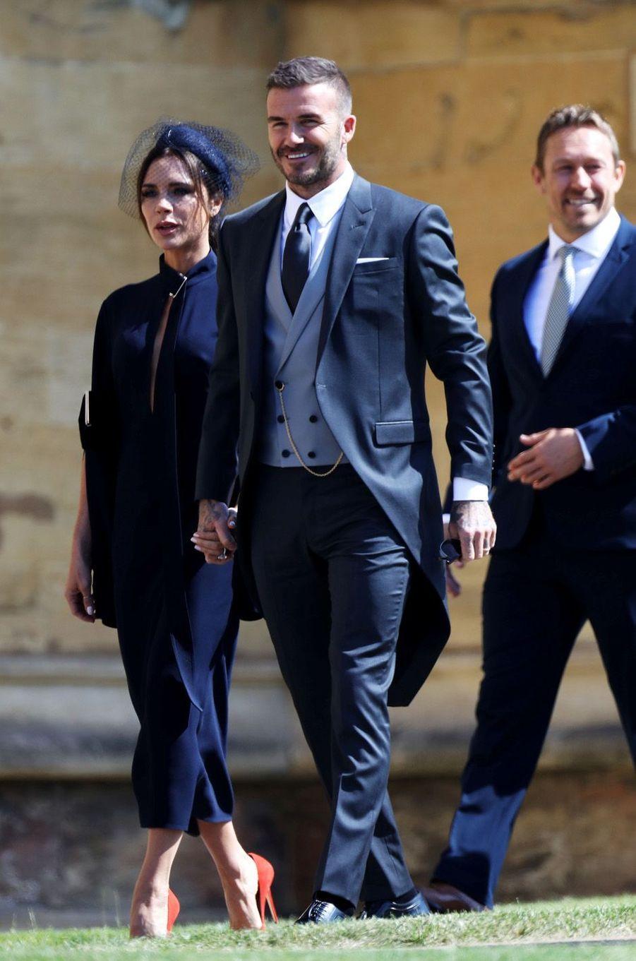 Victoria et David Beckham au mariage de Meghan et Harry, le 19 mai 2018.