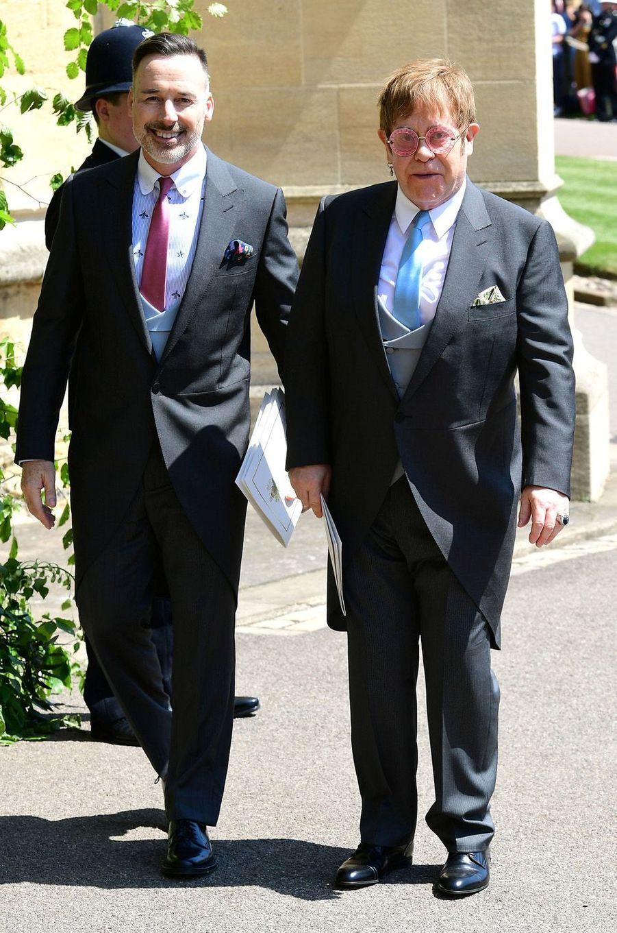 Elton John et son mari David Furnish au mariage de Meghan et Harry, le 19 mai 2018.