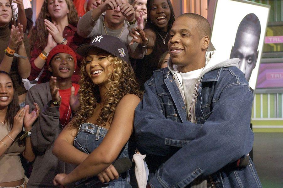 Jay-Z et Beyoncé lors de l'enregistrement d'une émission pour MTV en novembre 2002 à New York