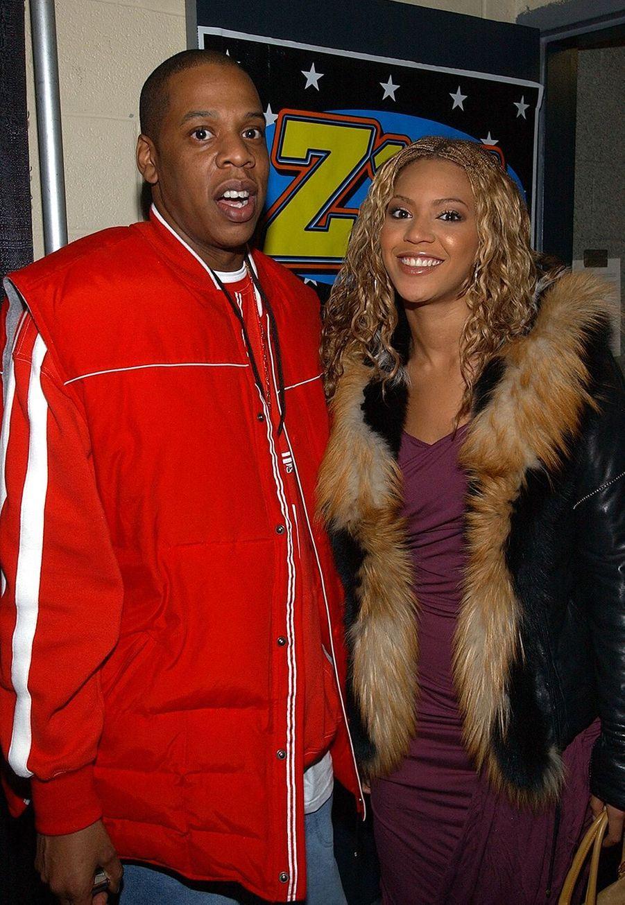 Jay-Z et Beyoncé lors du concert Jingle Ball à New York en décembre 2002