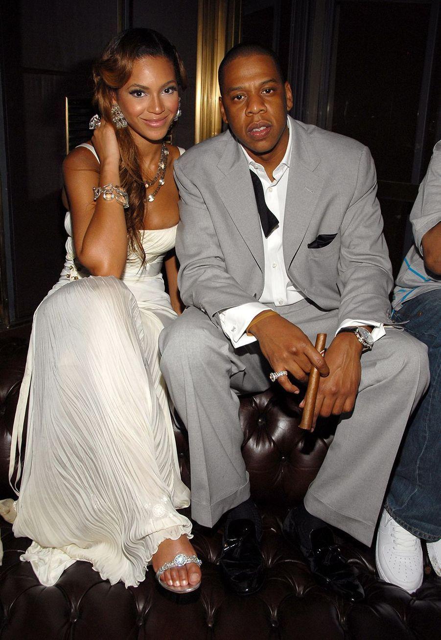 Jay-Z et Beyoncé en 2006 à New York lors du dixième anniversaire de l'album «Reasonable Doubt»