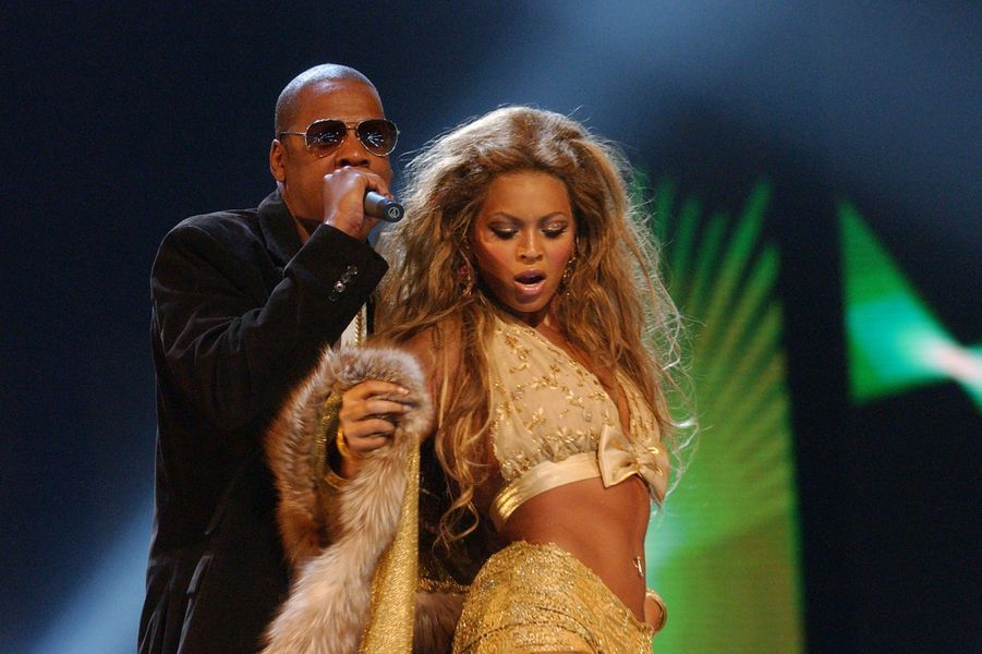 Jay-Z et Beyoncé aux MTV Video Music Awards à New York en août 2003
