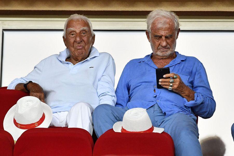 Charles Gérard et Jean-Paul Belmondo vendredi au stade de Monaco