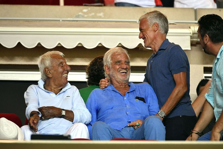 Didier Deschamps et Jean-Paul Belmondo vendredi au stade de Monaco