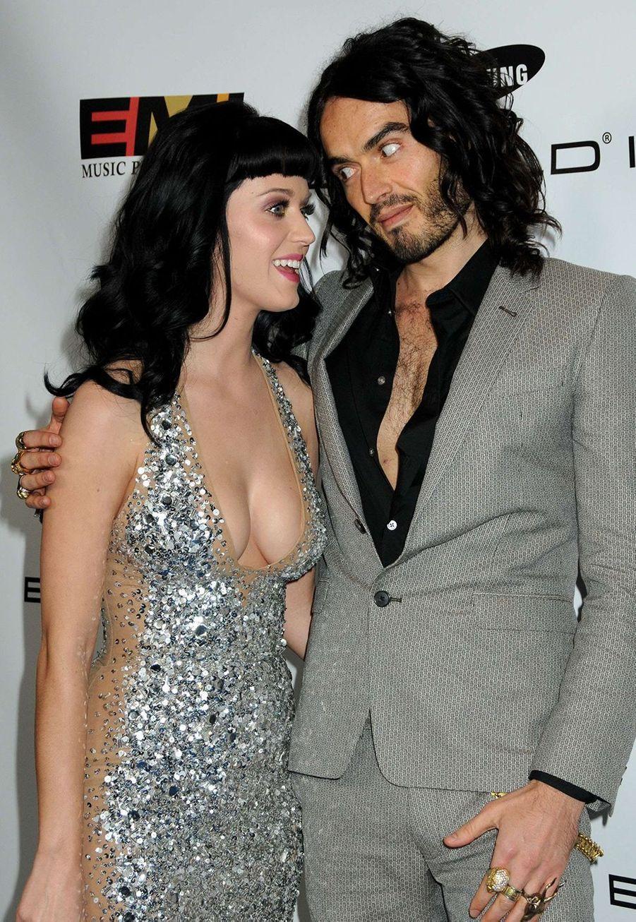Katy Perry et Russell Brand à une after-party organisée lors des Grammy Awards à Hollywood en janvier 2010