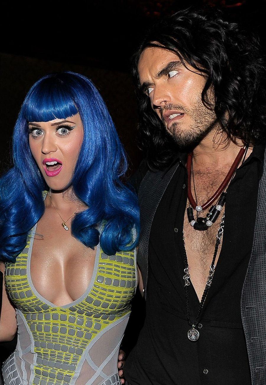 Katy Perry et Russell Brand à une fête organisée à Hollywood pour la sortie du single «California Gurls» en juin 2010