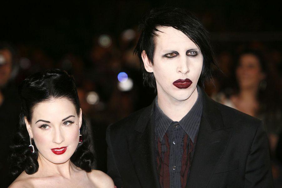 Dita Von Teese et Marilyn Manson à la première du film «Southland Tales» au Festival de Cannes en mai 2006