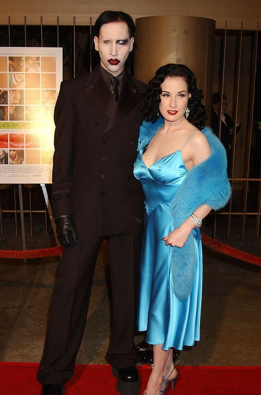 Marilyn Manson et Dita Von Teese à la première du film «Les Lois de l'attraction» à Hollywood en octobre 2002