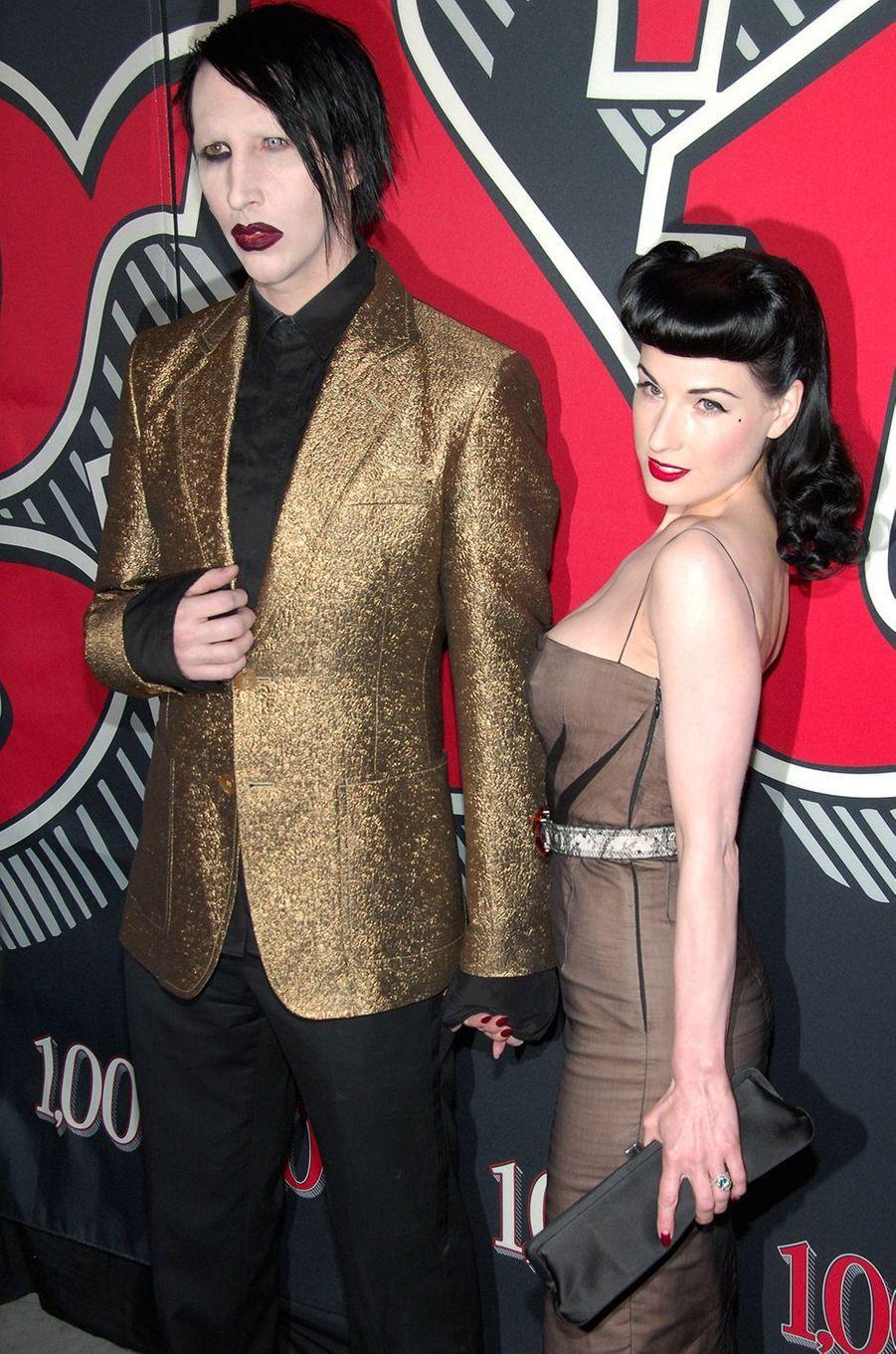 Marilyn Manson et Dita Von Teese lors d'une soirée organisée par le magazine «Rolling Stone» à New York en mai 2006