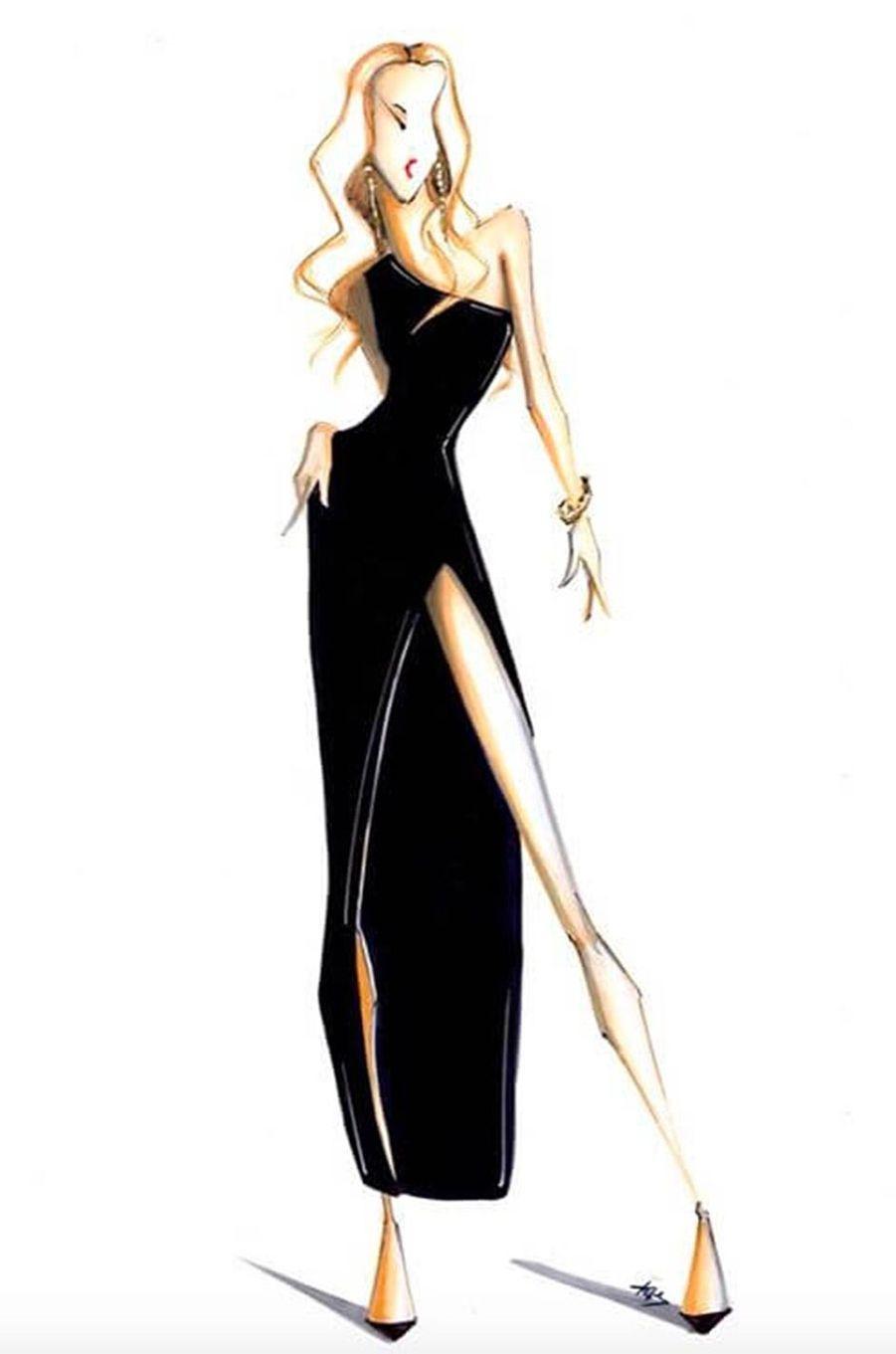 Le dessin de la tenue de Céline Dion par Pepe Munoz