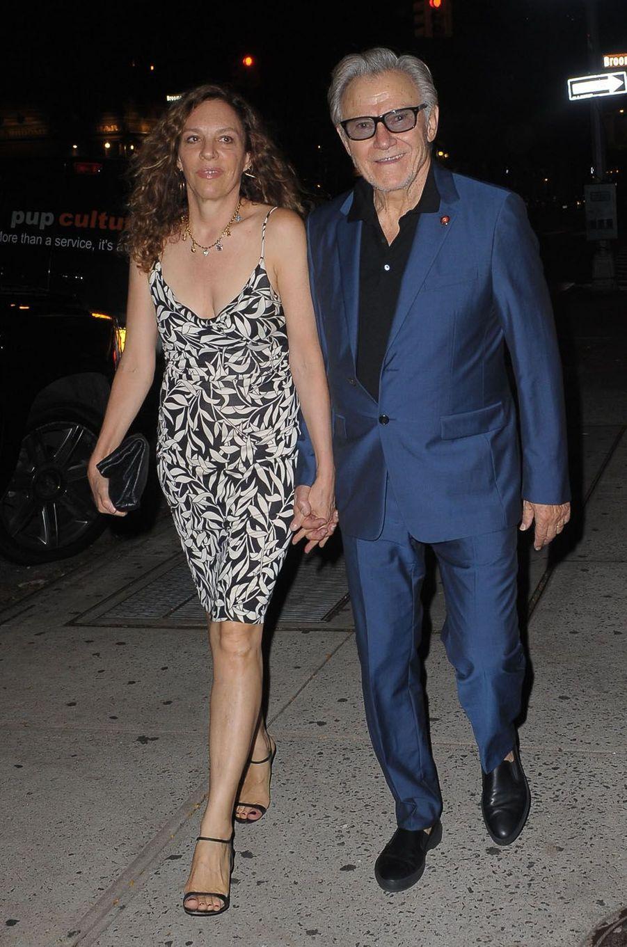 Harvey Keitel et sa femme lors de la fête de fiançailles de Quentin Tarantino et Daniella Pick, le 23 septembre 2017 à New York.
