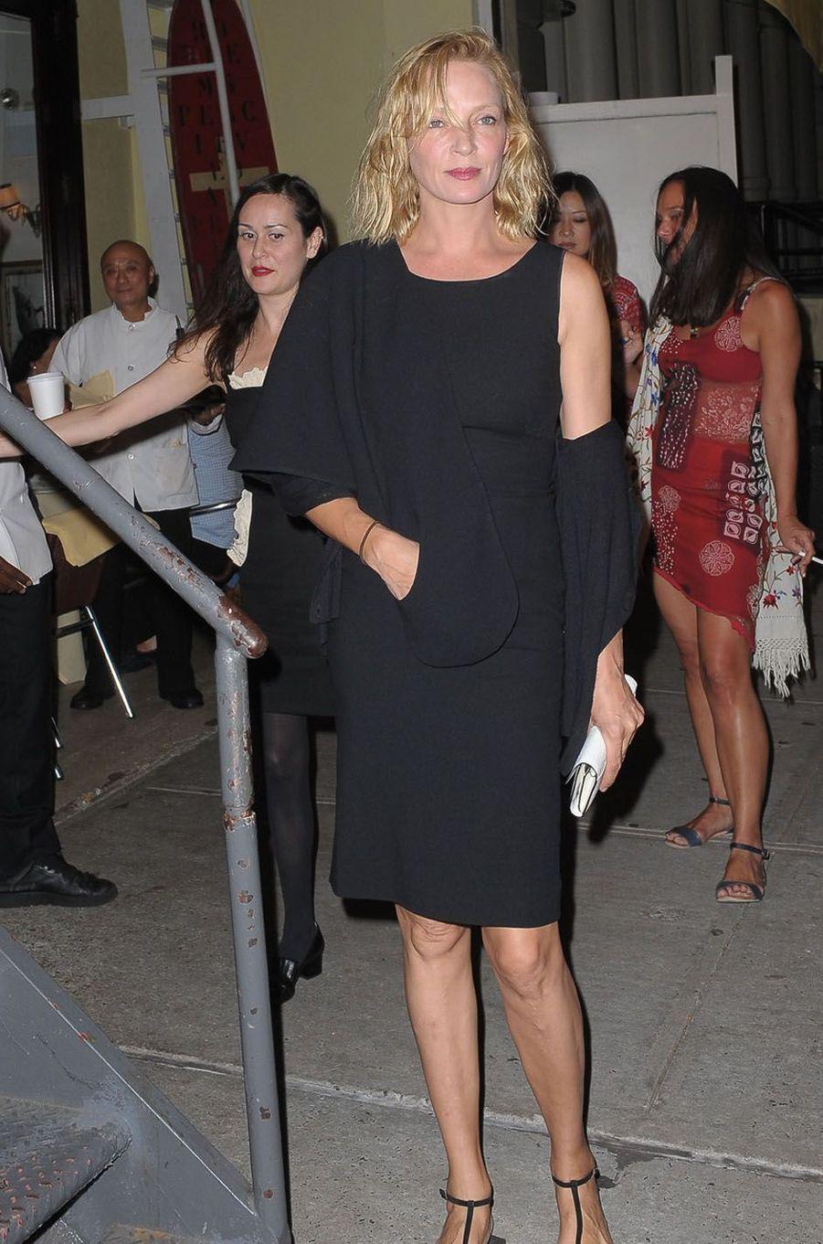 Uma Thurmanlors de la fête de fiançailles de Quentin Tarantino et Daniella Pick, le 23 septembre 2017 à New York.