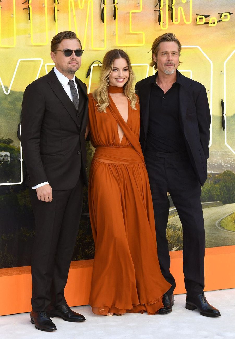 Leonardo DiCaprio, Margot Robbie et Brad Pitt à Londres, le 30 juillet 2019.