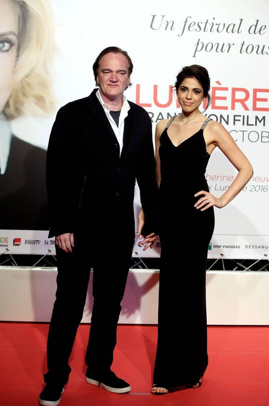 Quentin Tarantino et Daniella Pick à Lyon, le 8 octobre 2016.