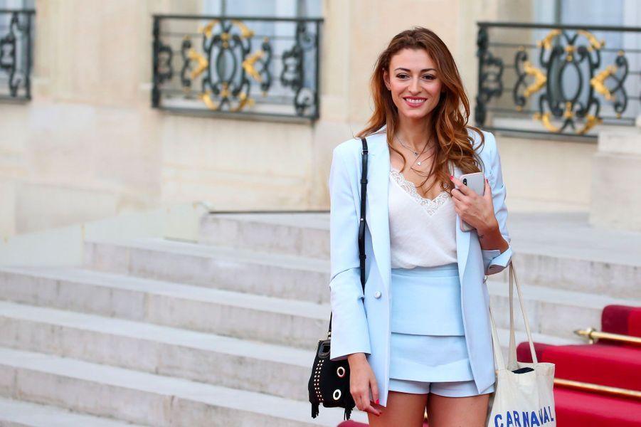 Rachel Legrain-Trapani à l'Élysée pour la soirée en l'honneur des Bleus le 16 juillet 2018