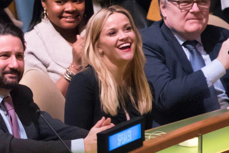 Reese Witherspoon à l'ONU, jeudi 8 mars