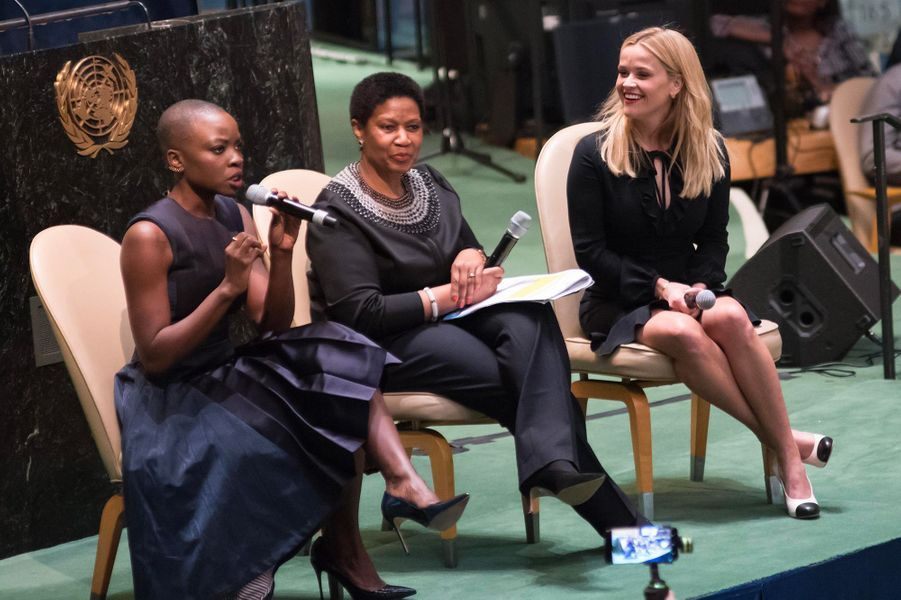 Reese Witherspoon et Danai Gurira à l'ONU, jeudi 8 mars