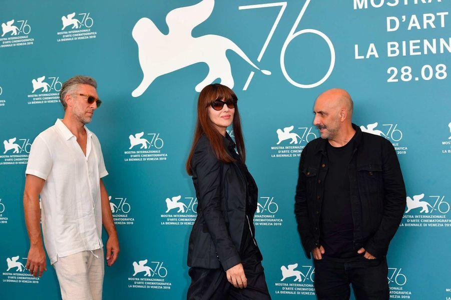 Vincent Cassel,Monica Bellucci et Gaspar Noéà Venise, le 31 août 2019.