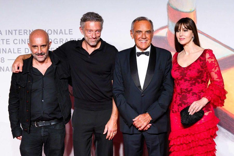 Gaspar Noé, Vincent Cassel, Alberto Barbera et Monica Bellucci à Venise, le 31 août 2019.