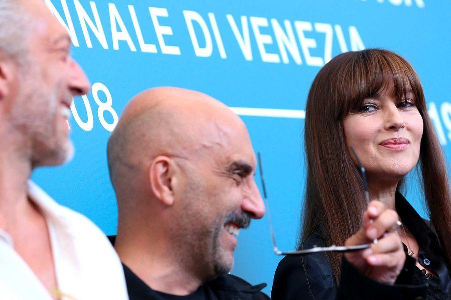 Vincent Cassel,Gaspar Noé etMonica Belluccià Venise, le 31 août 2019.