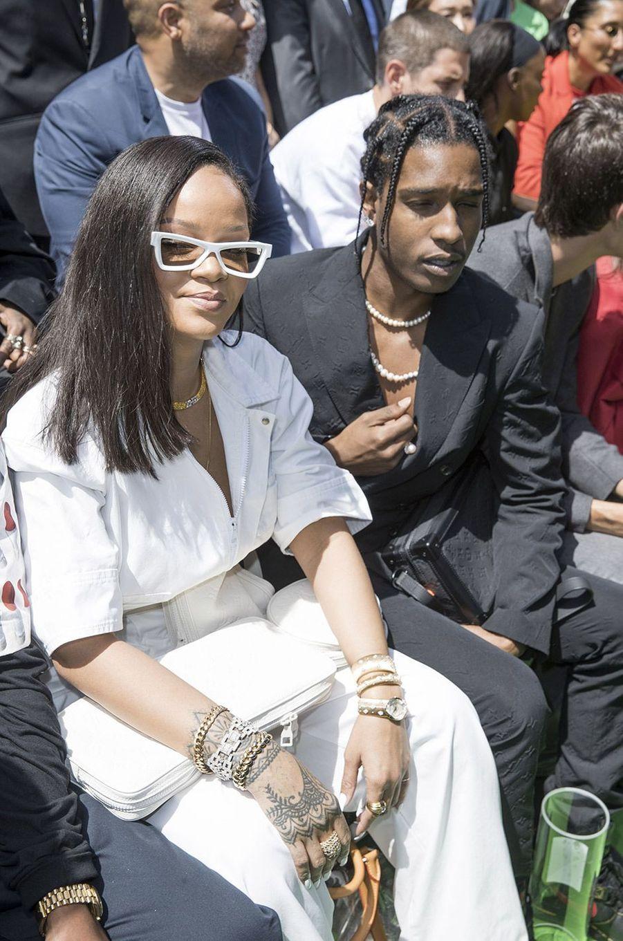 Rihanna et A$AP Rocky au défilé homme Louis Vuitton jeudi 21 juin à Paris