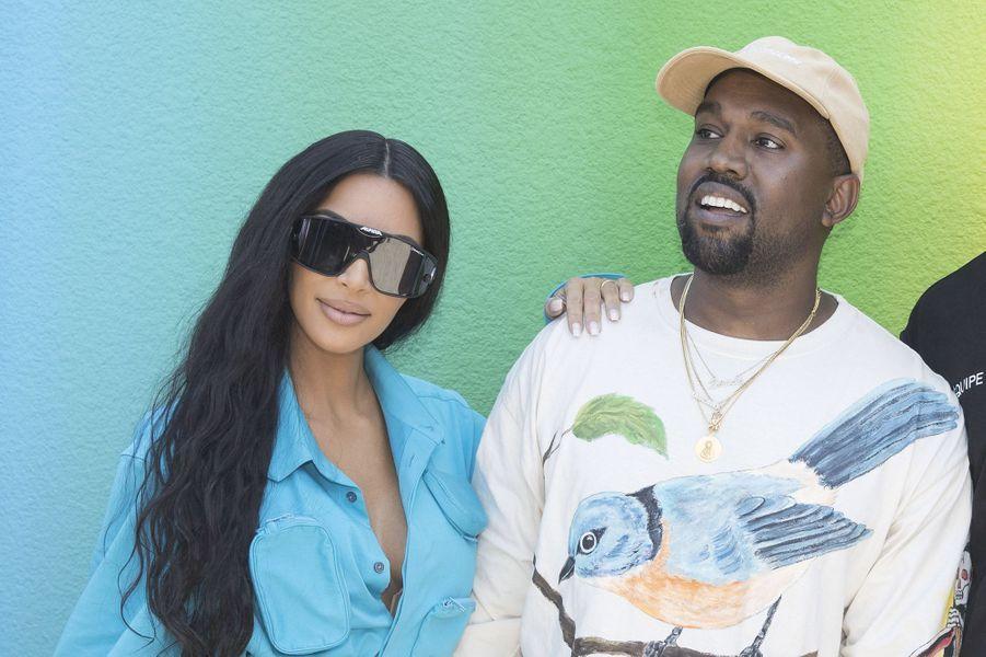 Kanye West et Kim Kardashian au défilé homme Louis Vuitton jeudi 21 juin à Paris