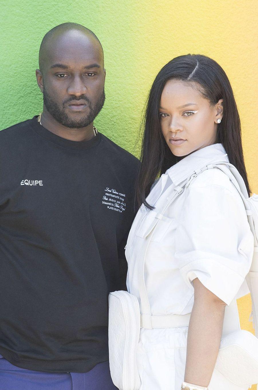 Rihanna et Virgil Abloh au défilé homme Louis Vuitton jeudi 21 juin à Paris