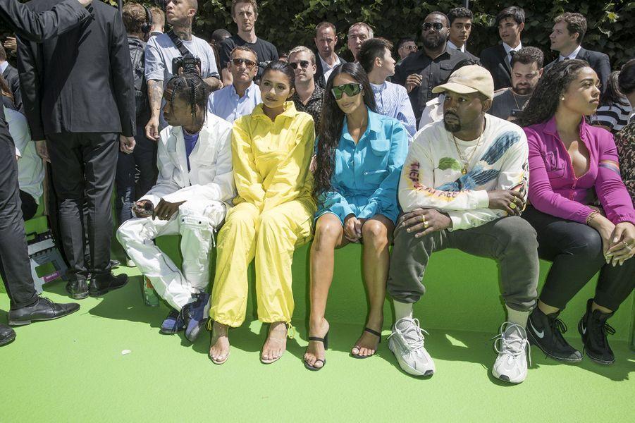 Kanye West, Kim Kardashian, Kylie Jenner et Travis Scott au défilé homme Louis Vuitton jeudi 21 juin à Paris