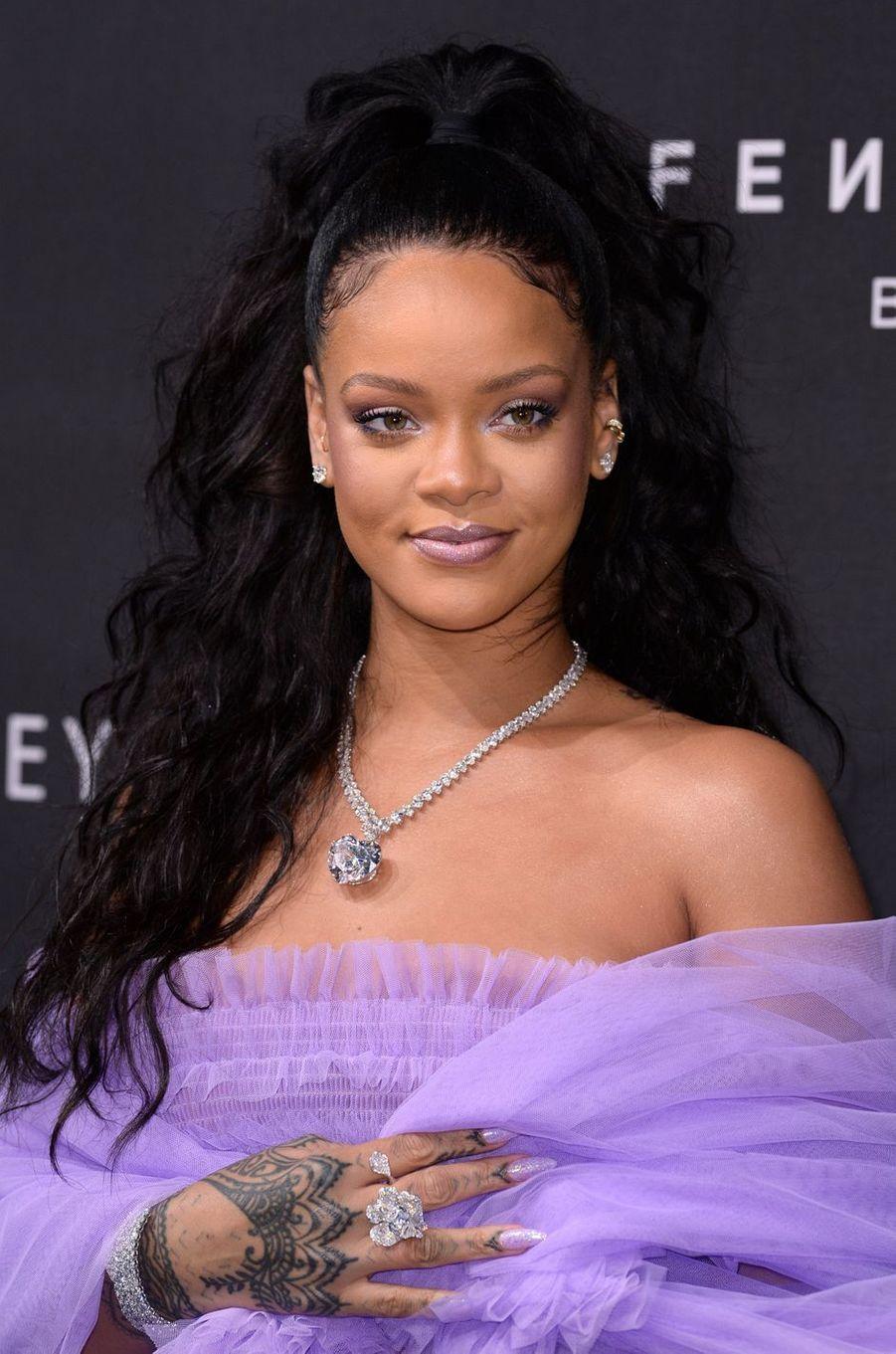 Rihanna au lancement de sa ligne de cosmétique à Londres, le 19 septembre 2017.