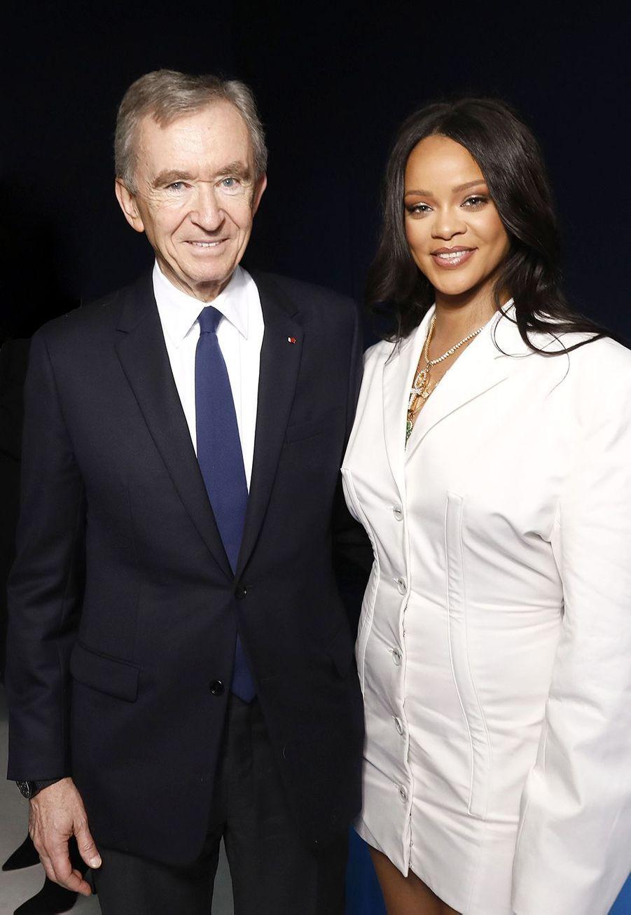 Bernard Arnault et Rihannaaulancement de la première collection Fenty à Paris le 22 mai 2019