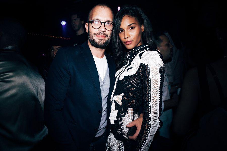 Cindy Bruna avec Loïc Berardengo à l'Arc pour la Fashion Week de Paris.