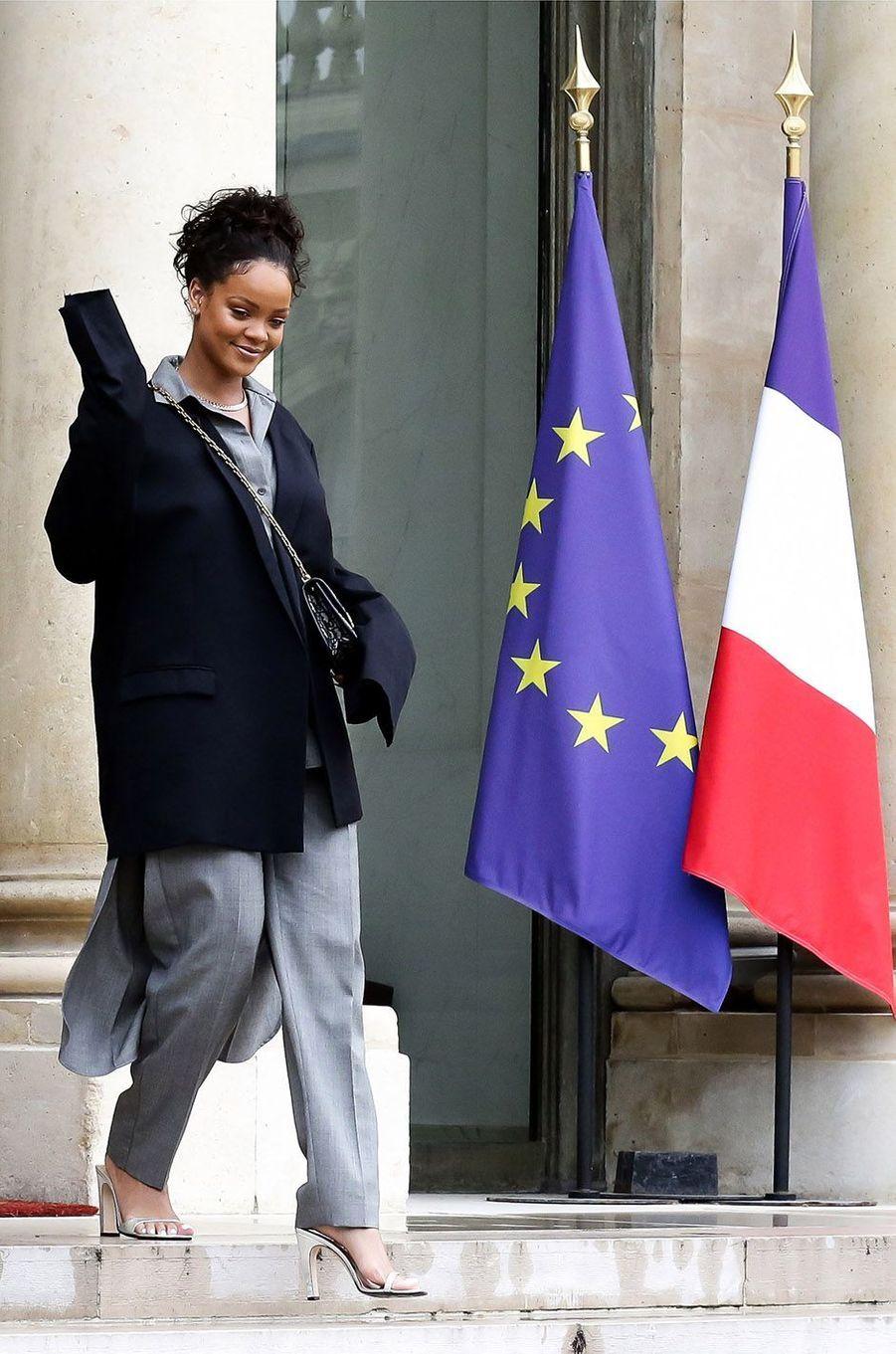 Rihanna lors de sa visite à l'Elysée, le 26 juillet 2017.