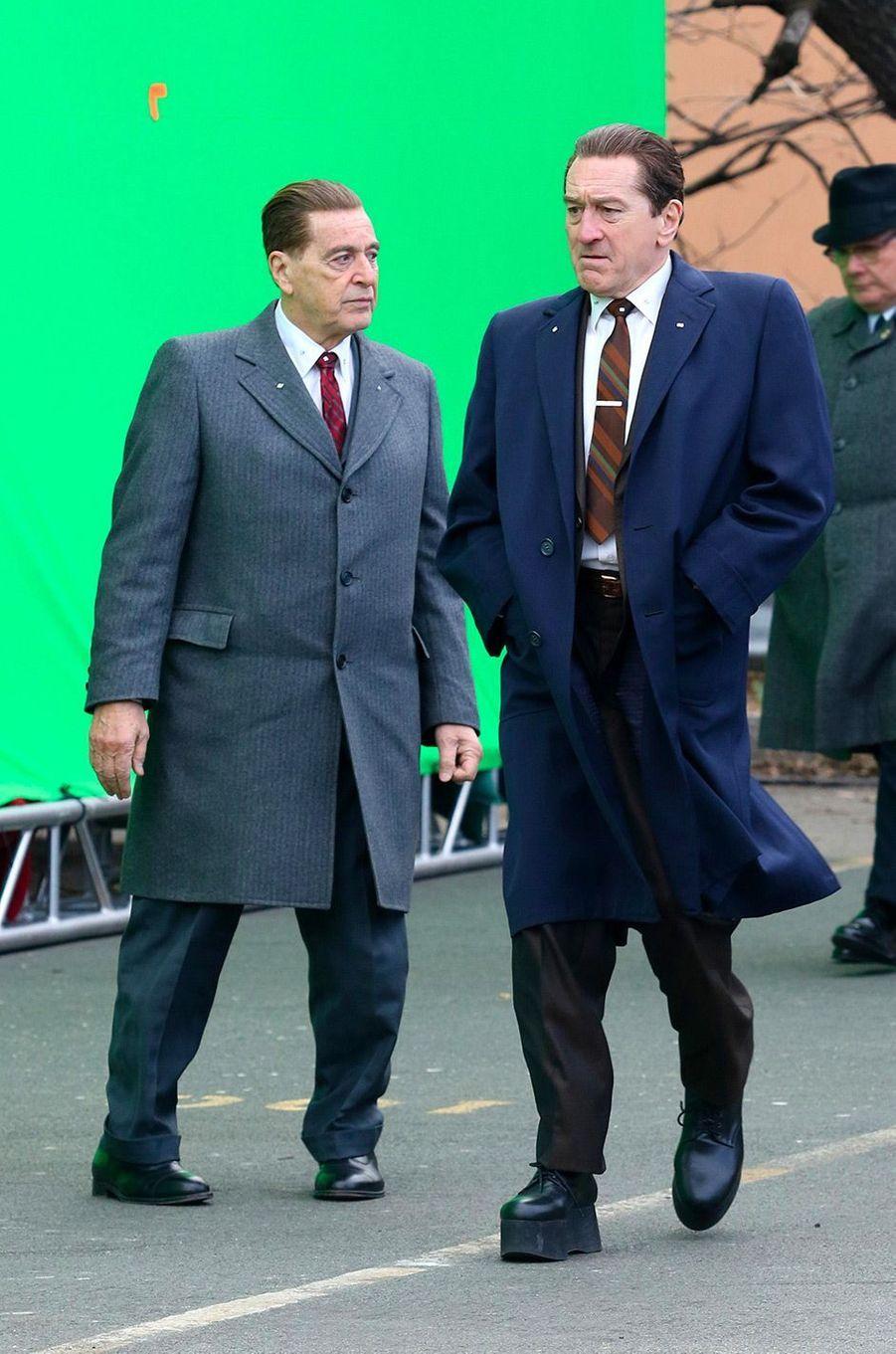 Al Pacino et Robert de Niro en tournage à New York