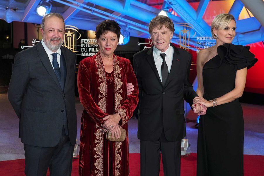 Sibylle Szaggars,Robert Redford et Melita Toscan du Plantierau Festival du film de Marrakech, le 6 décembre 2019.