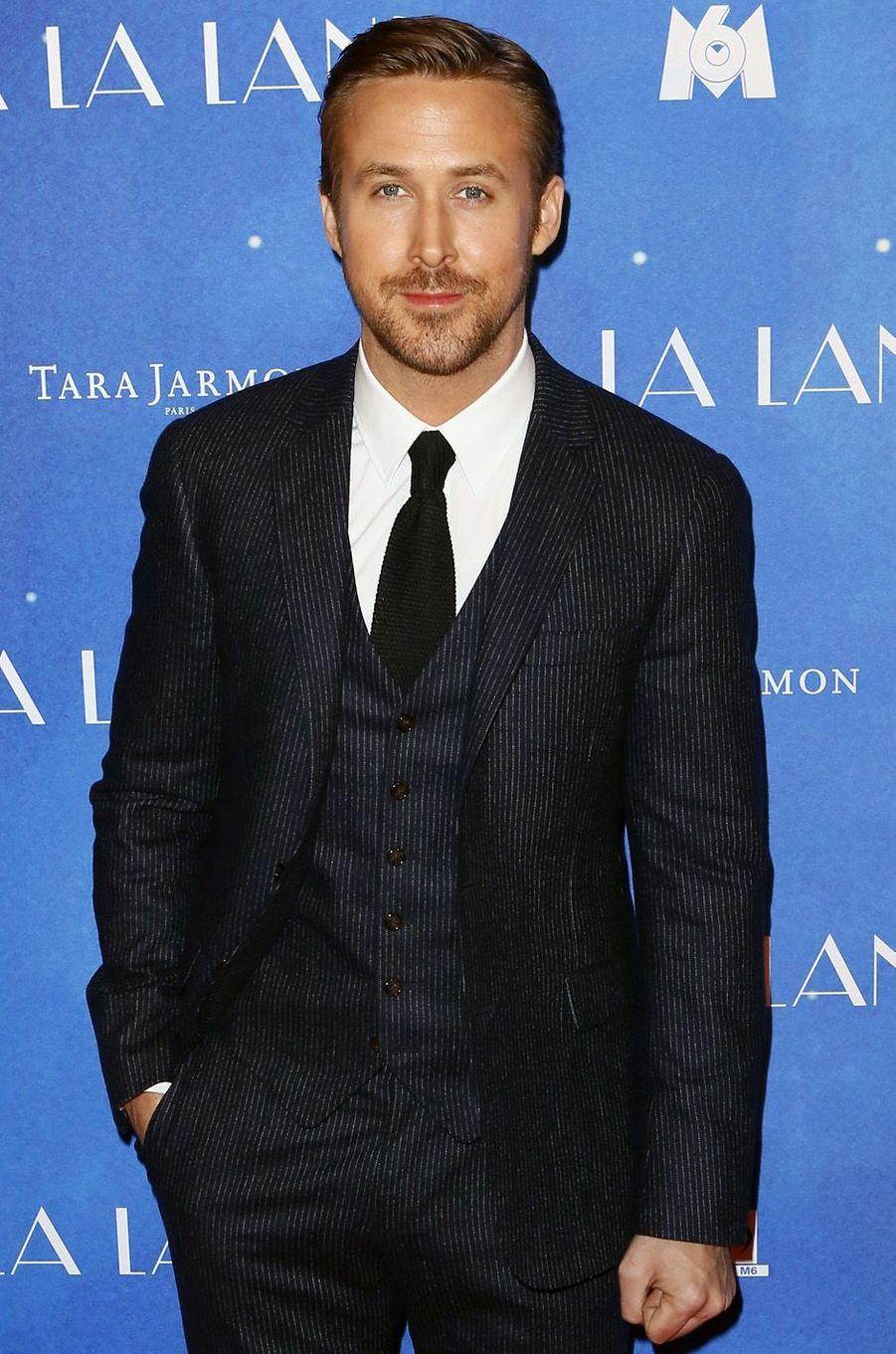 """Ryan Gosling à l'avant-première de """"La La Land"""" à Paris, le 10 janvier 2017."""