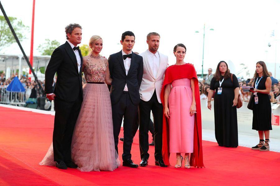 """L'équipe du film """"First Man"""" à l'ouverture de la 75eme Mostra de Venise"""