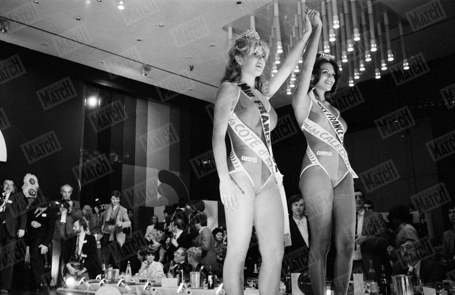 Sabrina Belleval, élue Miss France 1982, à l'hôtel PLM Saint-Jacques à Paris, en décembre 1981.