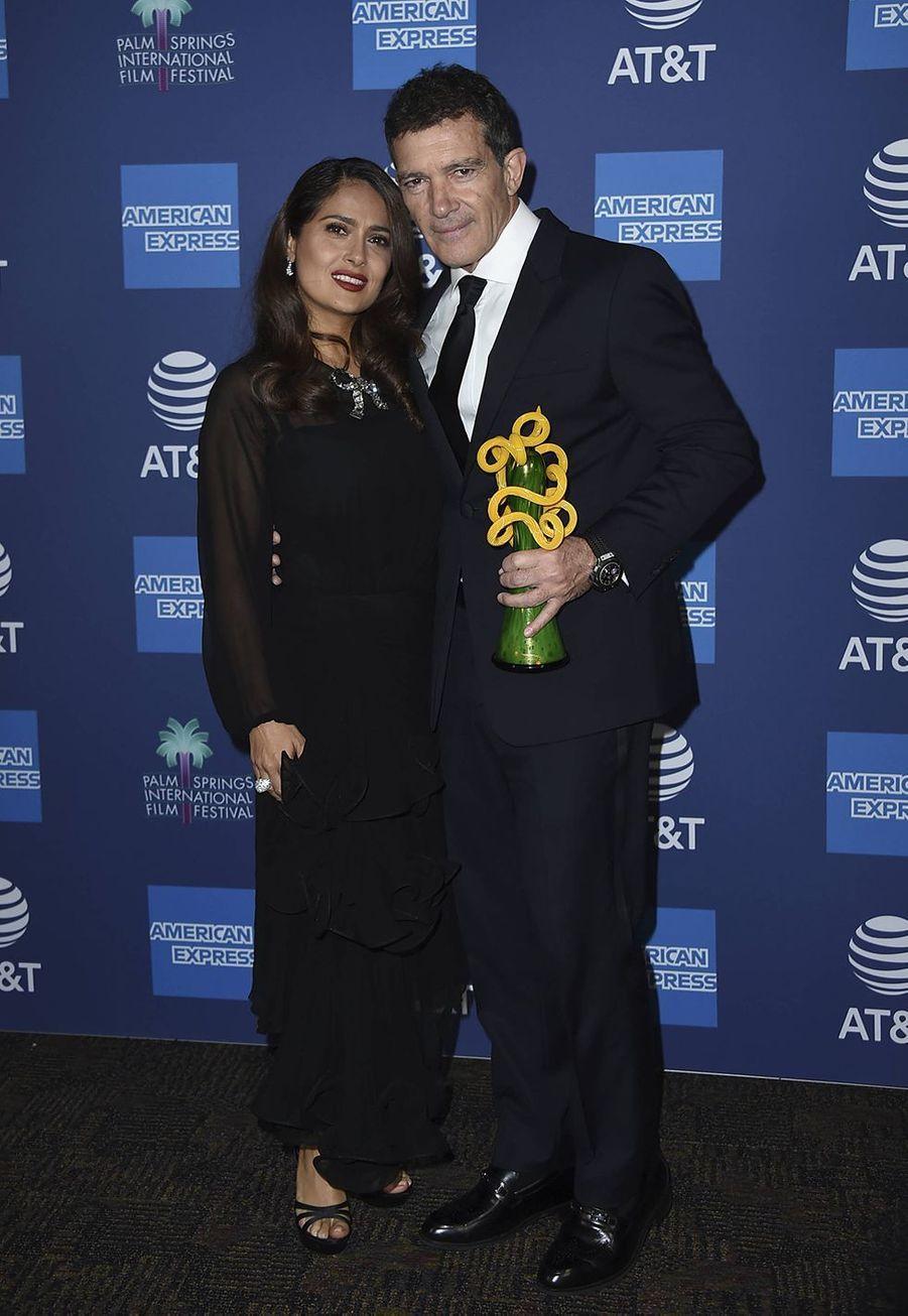 Salma Hayek et Antonio Banderas auPalm Springs International Film Festival, le 2 janvier 2020.