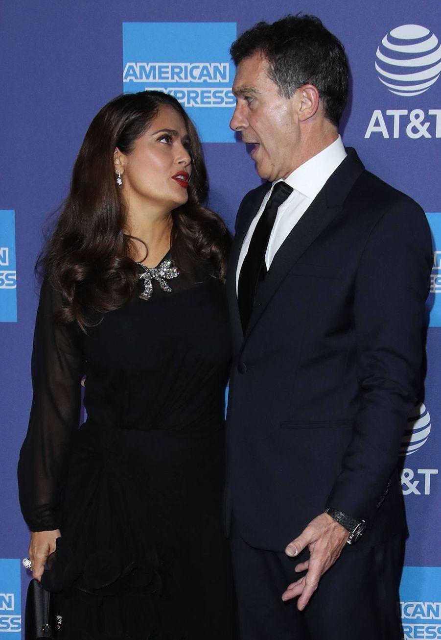 Salma Hayek et Antonio Banderas au Palm Springs International Film Festival, le 2 janvier 2020.