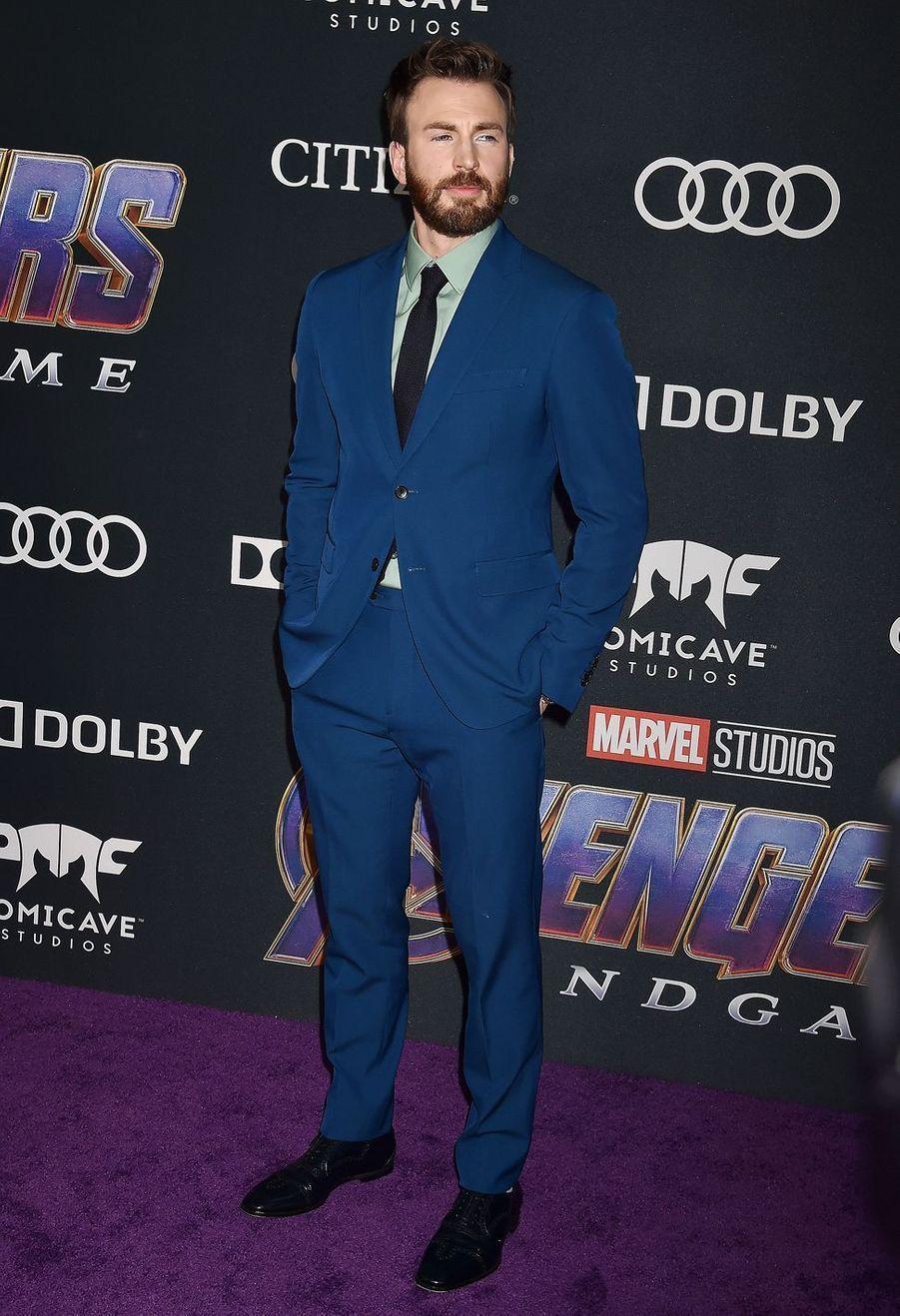 Chris Evansà l'avant-première d'«Avengers : Endgame» à Los Angeles le 22 avril 2019