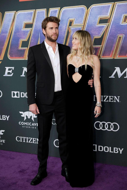 Liam Hemsworth et Miley Cyrusà l'avant-première d'«Avengers : Endgame» à Los Angeles le 22 avril 2019