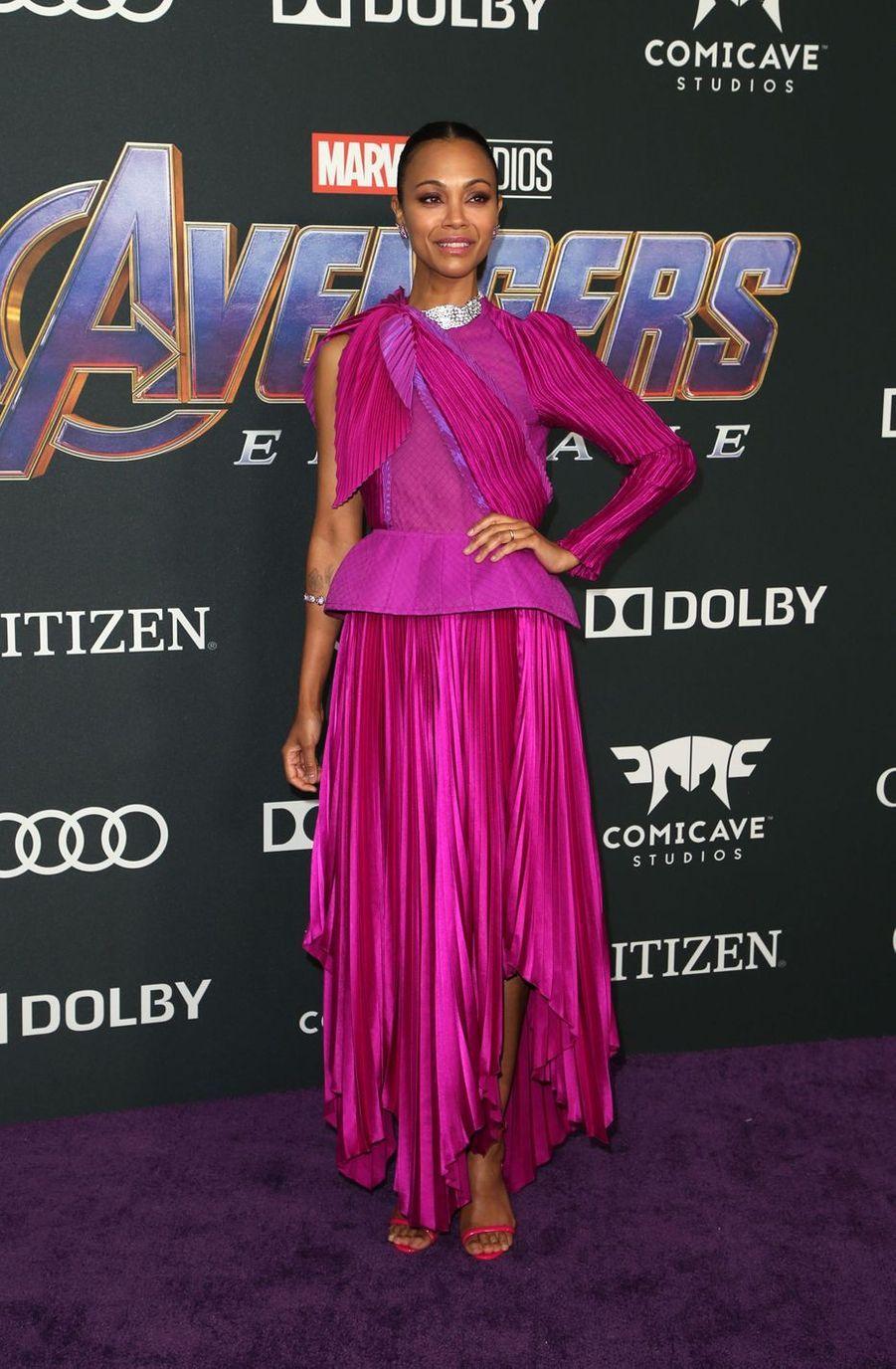 Zoe Saldanaà l'avant-première d'«Avengers : Endgame» à Los Angeles le 22 avril 2019