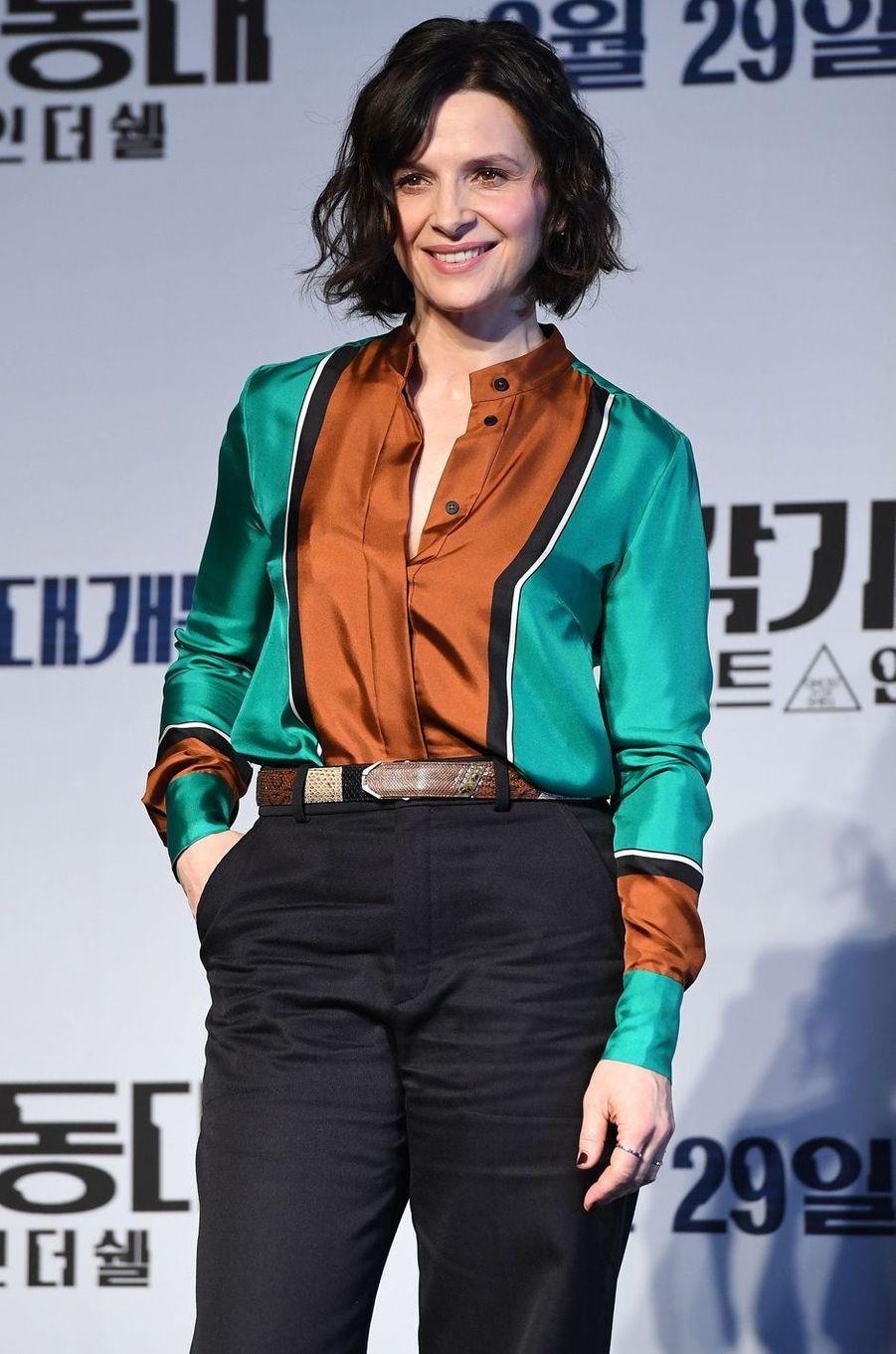 Juliette Binoche à Séoul, le 17 mars 2017.