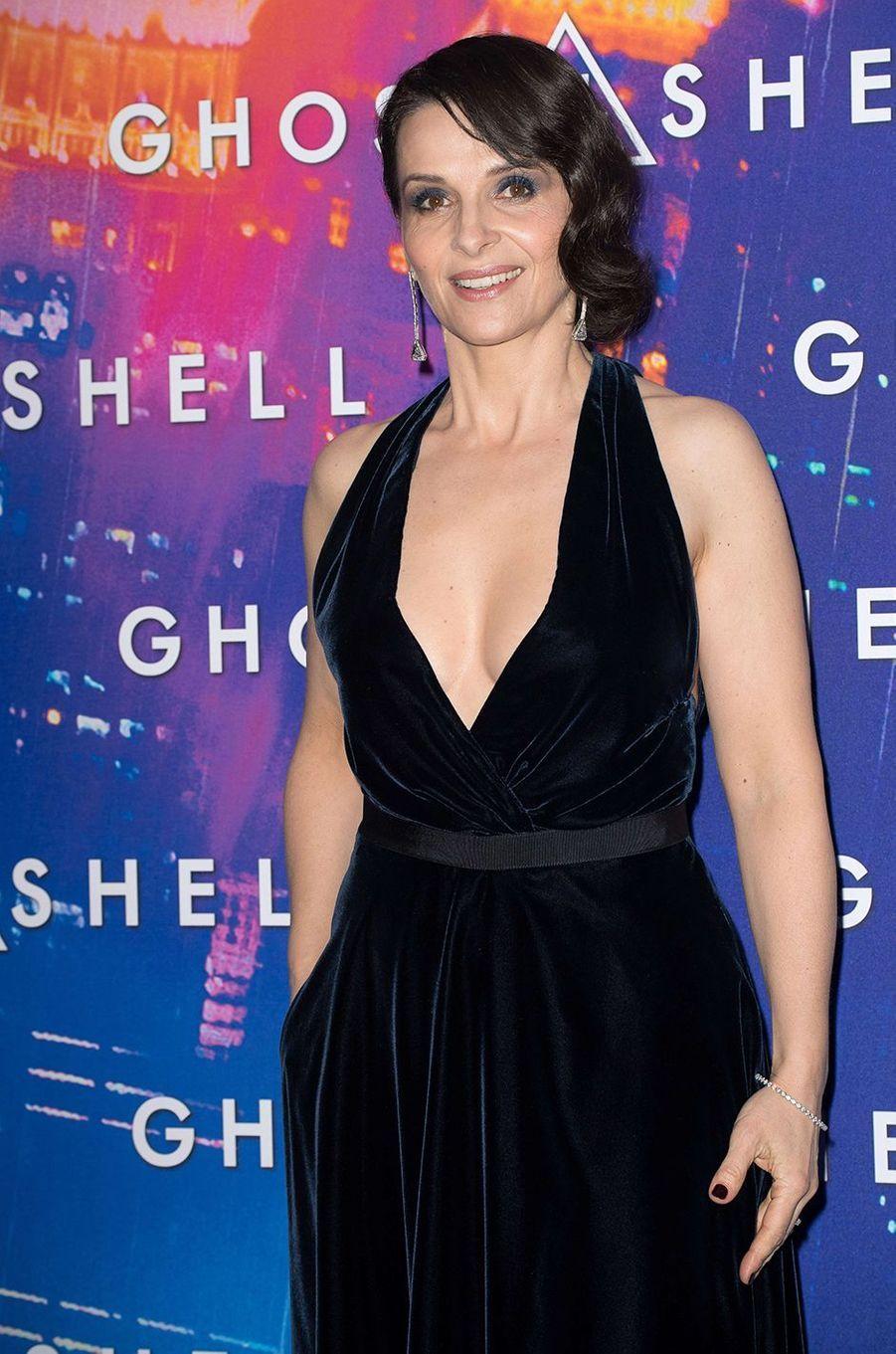 "Juliette Binoche à Paris pour ""Ghost in the Shell"", le 21 mars 2017."