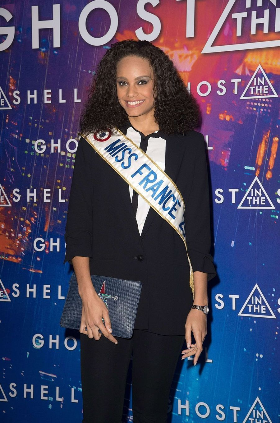 "Miss France 2017 Alicia Aylies à Paris pour ""Ghost in the Shell"", le 21 mars 2017."