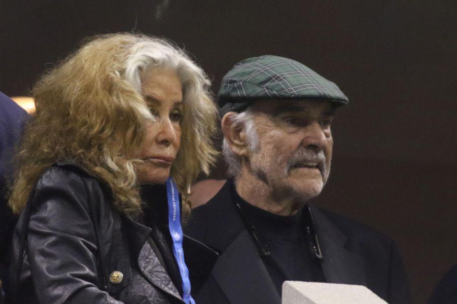 Sean Connery et sa femme à l'US Open à New York, le 29 août 2017.